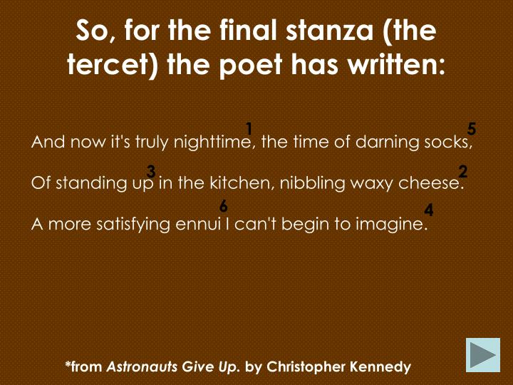 So, for the final stanza (the tercet) the poet has written: