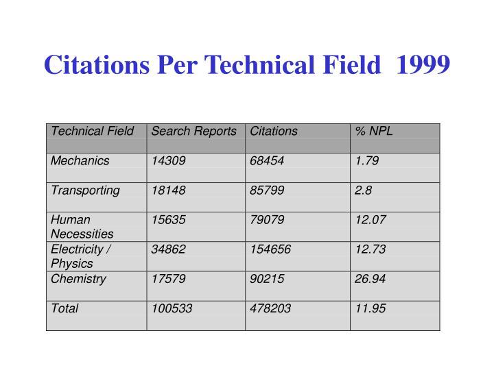 Citations Per Technical Field  1999