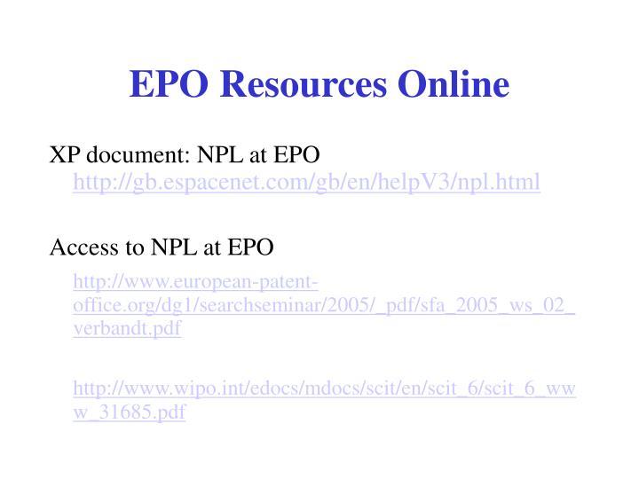EPO Resources Online