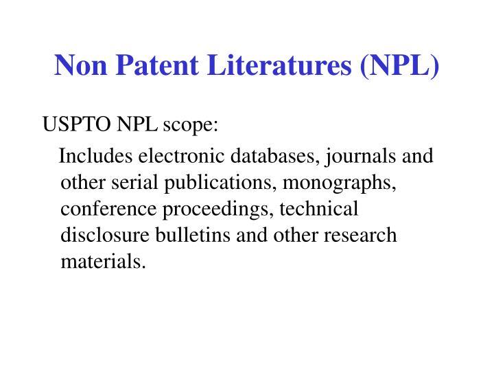 Non Patent Literatures (NPL)