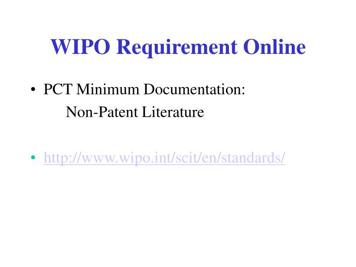 WIPO Requirement Online