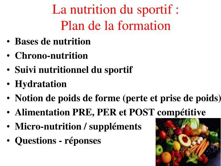 PPT - FORMATION EN NUTRITION DU SPORT PowerPoint