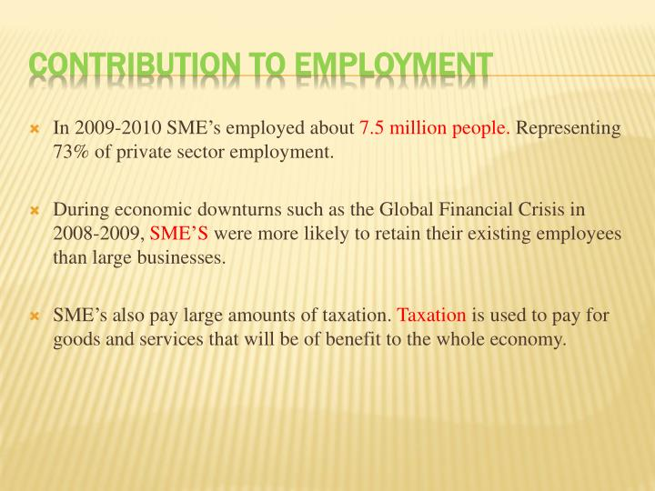 In 2009-2010 SME's employed about