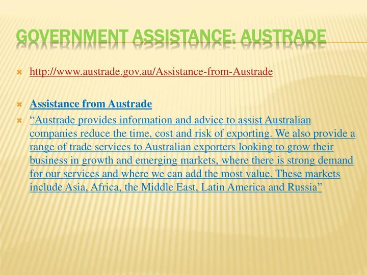 http://www.austrade.gov.au/Assistance-from-Austrade