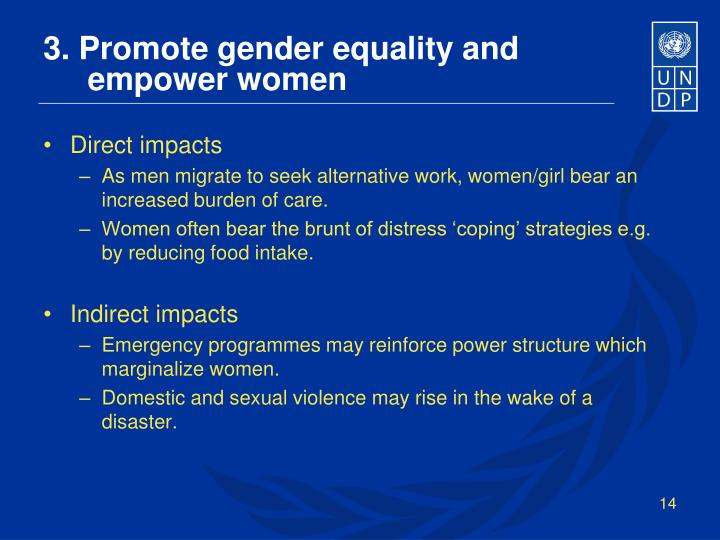 3. Promote gender equality and
