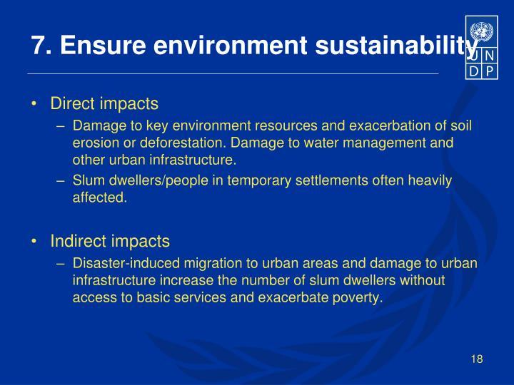 7. Ensure environment sustainability