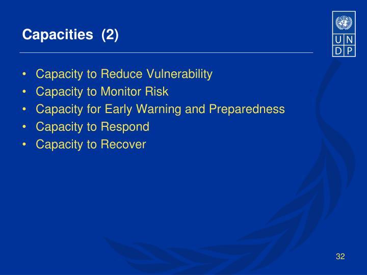 Capacities  (2)