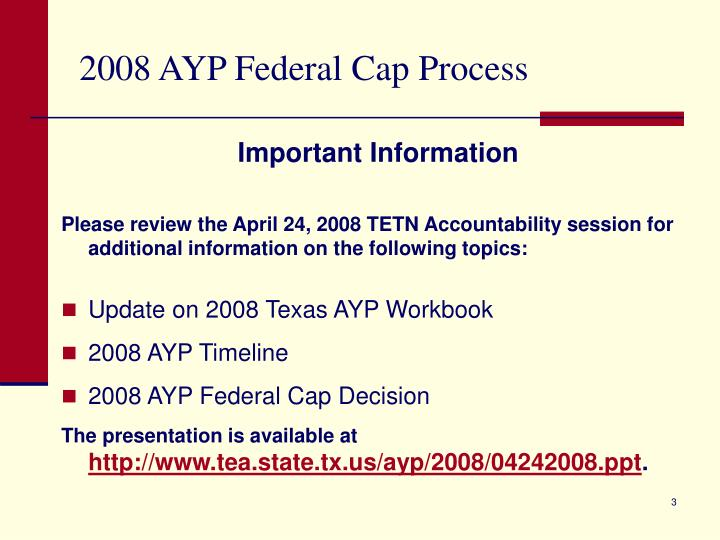 2008 AYP Federal Cap Process