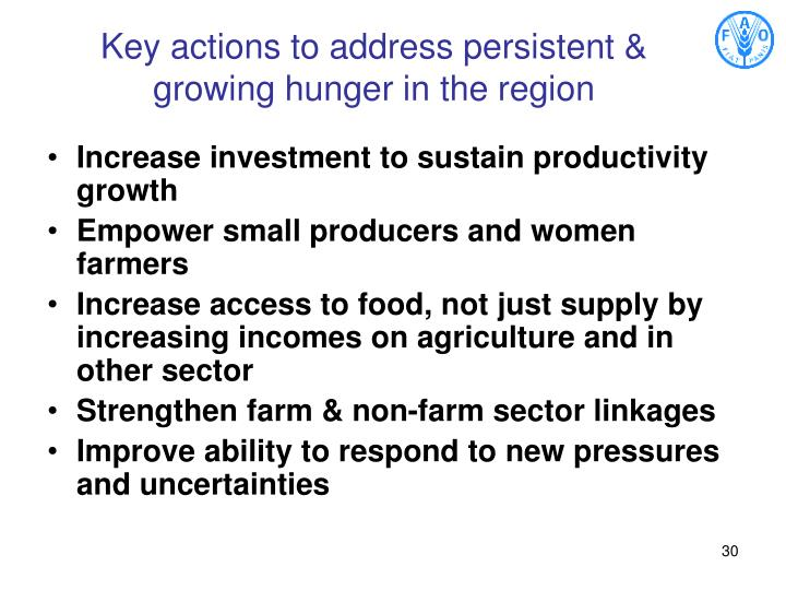 Key actions to address persistent & growing hunger in the region