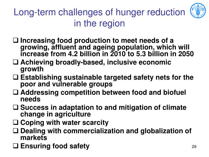 Long-term challenges of hunger reduction in the region