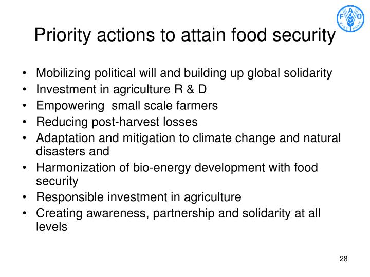 Priority actions to attain food security