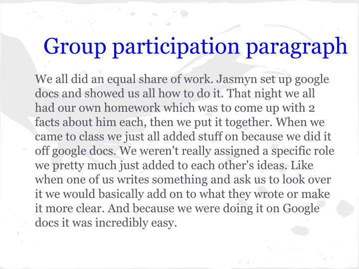 Group participation paragraph