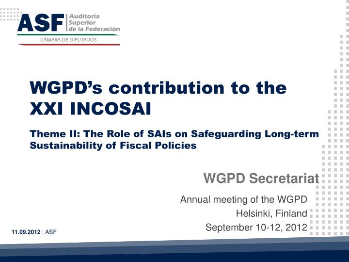 WGPD's contribution to the XXI