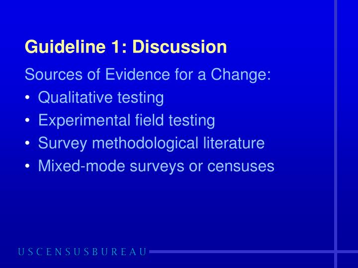 Guideline 1: Discussion