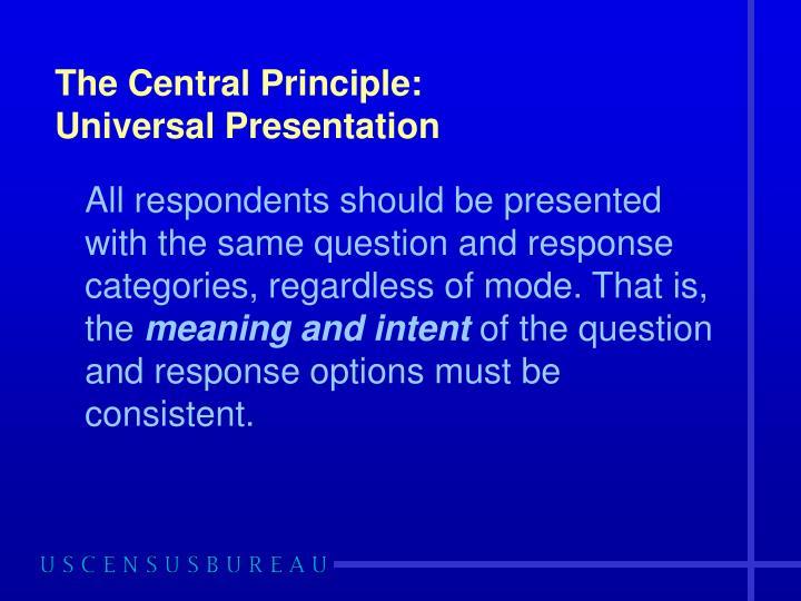 The Central Principle: