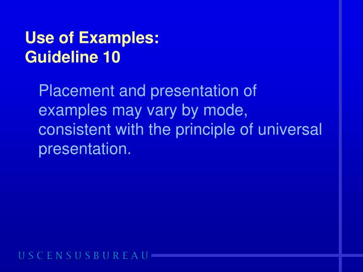 Use of Examples: