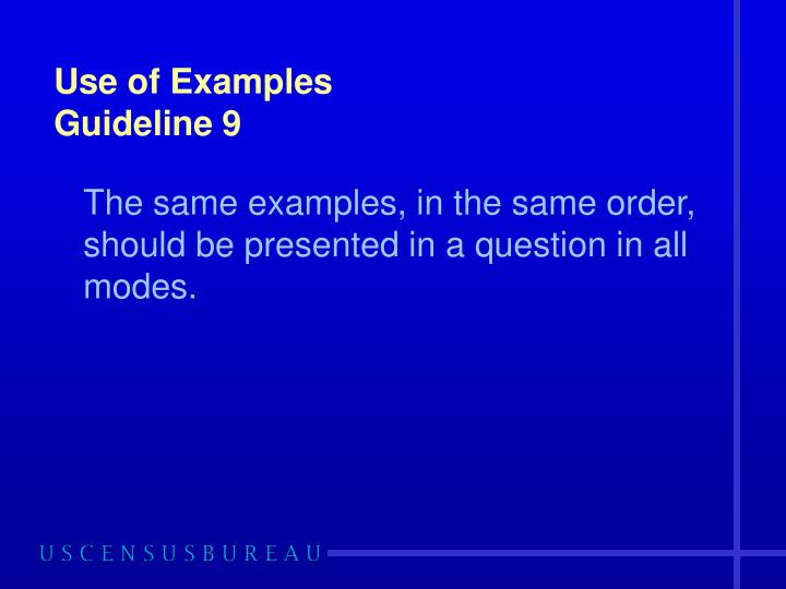 Use of Examples