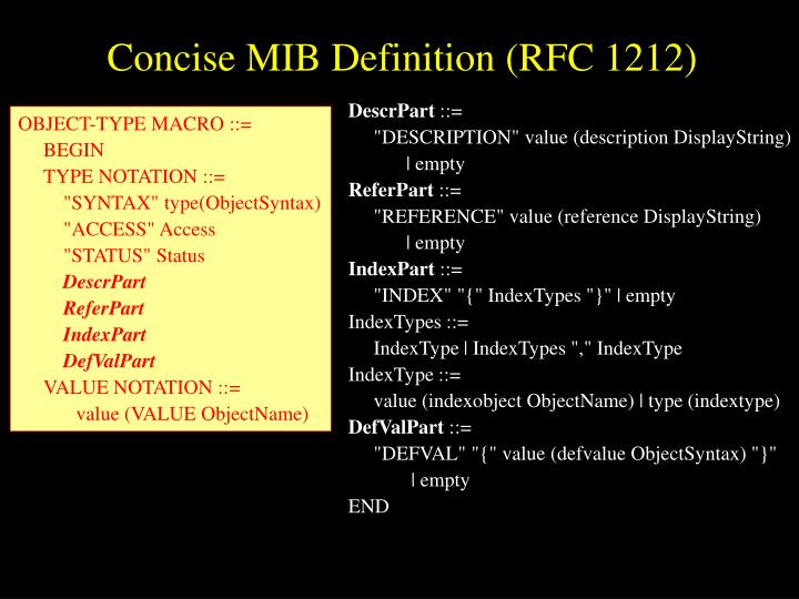Concise MIB Definition (RFC 1212)