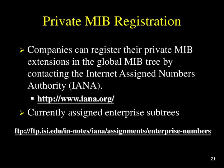 Private MIB Registration