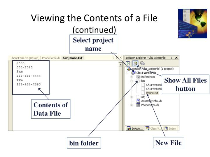 Viewing the Contents of a File