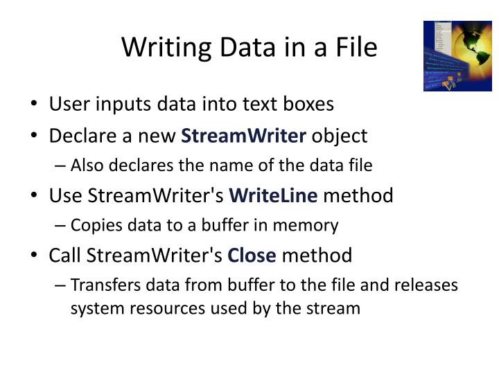 Writing Data in a File