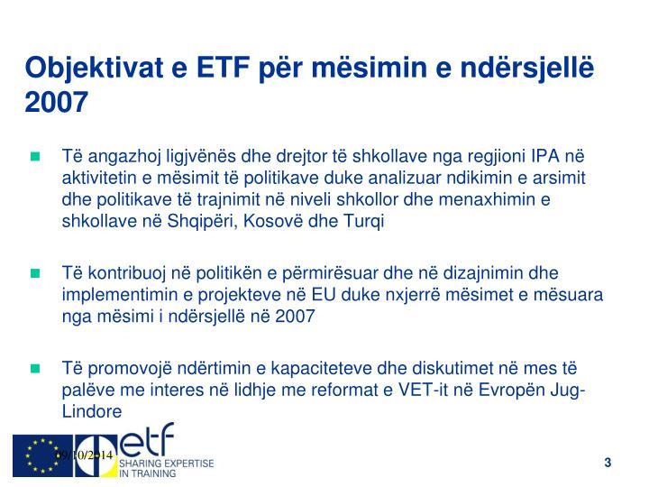 Objektivat e ETF për mësimin e ndërsjellë 2007
