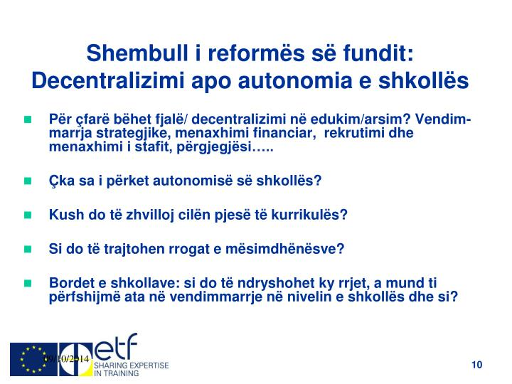 Shembull i reformës së fundit: