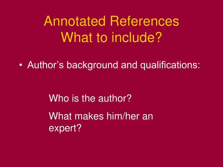 Annotated References