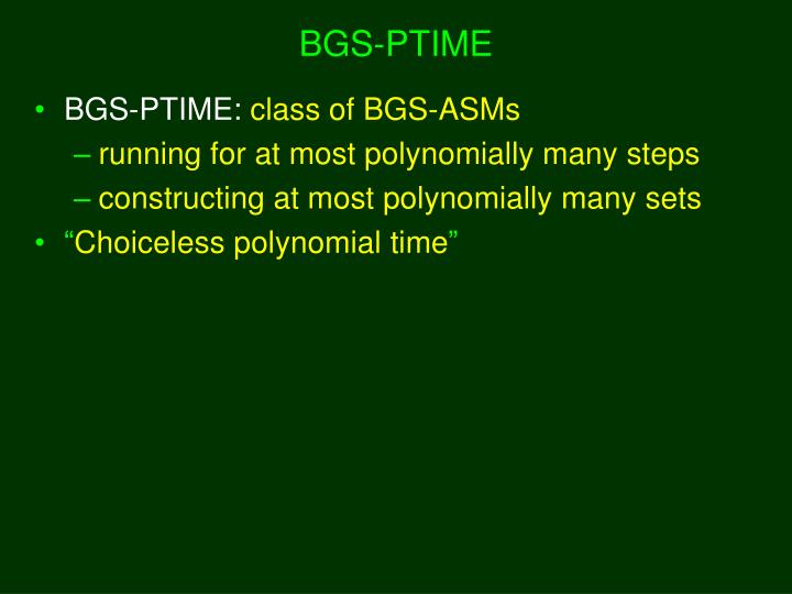 BGS-PTIME