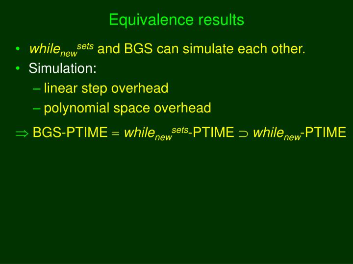 Equivalence results