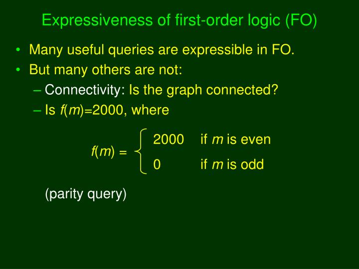 Expressiveness of first-order logic (FO)