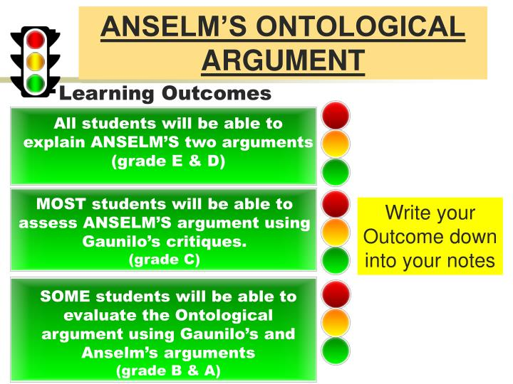 anselm ontological argument essay Anselm, probably the greatest theologian to become archbishiop of canterbury, was the first to develop a comprehensive ontological argument for the existence of god.