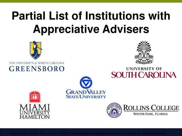 Partial List of Institutions with Appreciative Advisers