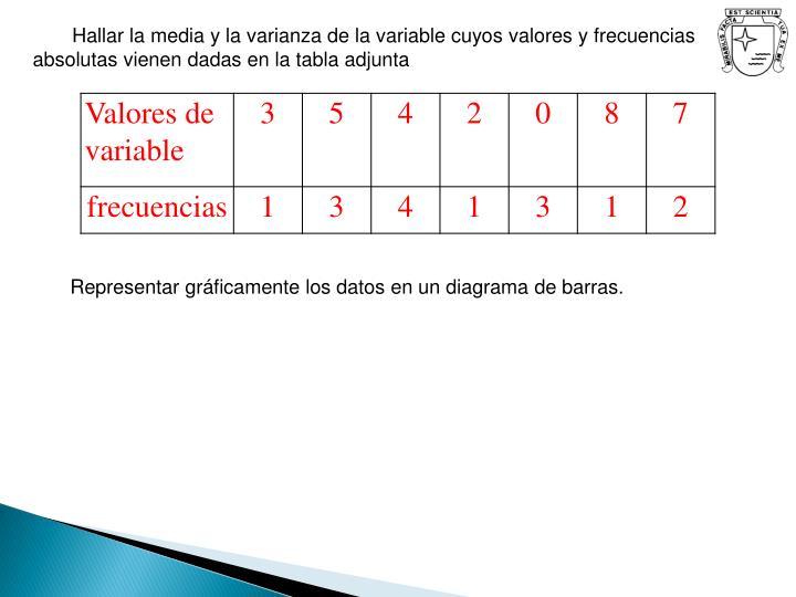 Hallar la media y la varianza de la variable cuyos valores y frecuencias absolutas vienen dadas en la tabla adjunta