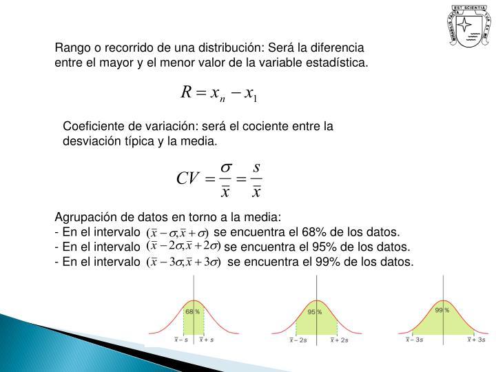Rango o recorrido de una distribución: Será la diferencia entre el mayor y el menor valor de la variable estadística.