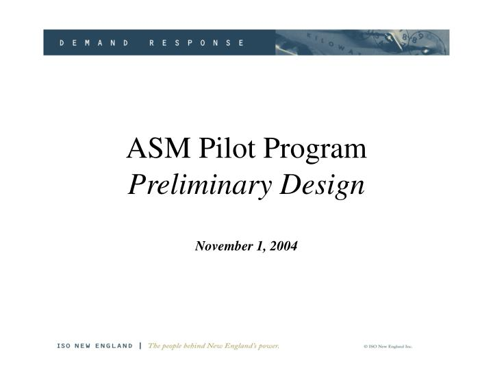 Asm pilot program preliminary design november 1 2004
