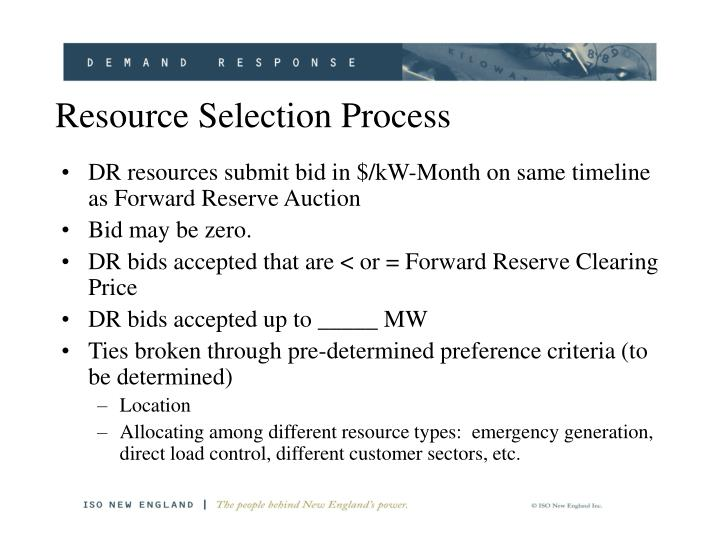 Resource Selection Process