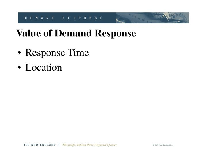 Value of Demand Response