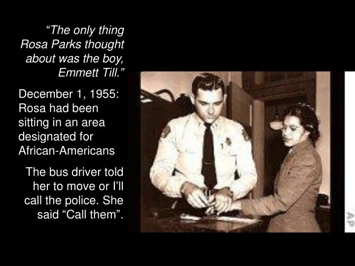 """The only thing Rosa Parks thought about was the boy, Emmett Till."""