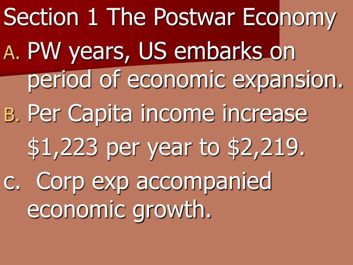 Section 1 The Postwar Economy