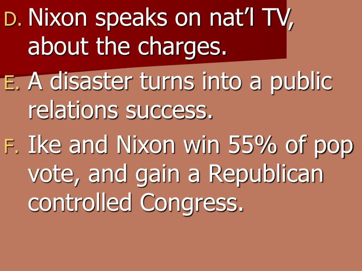 Nixon speaks on nat'l TV, about the charges.