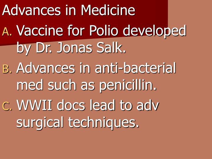 Advances in Medicine