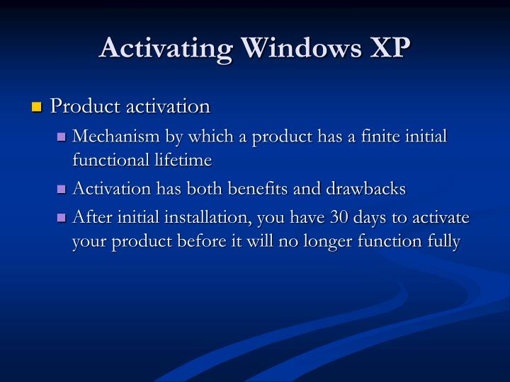 Activating Windows XP