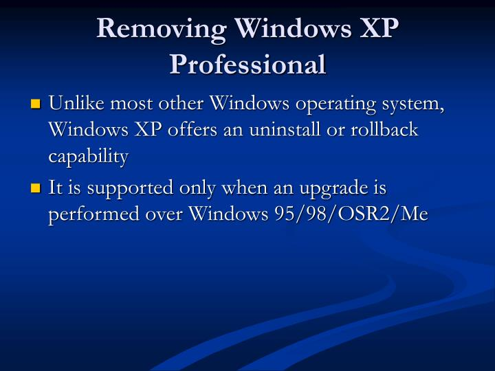 Removing Windows XP Professional