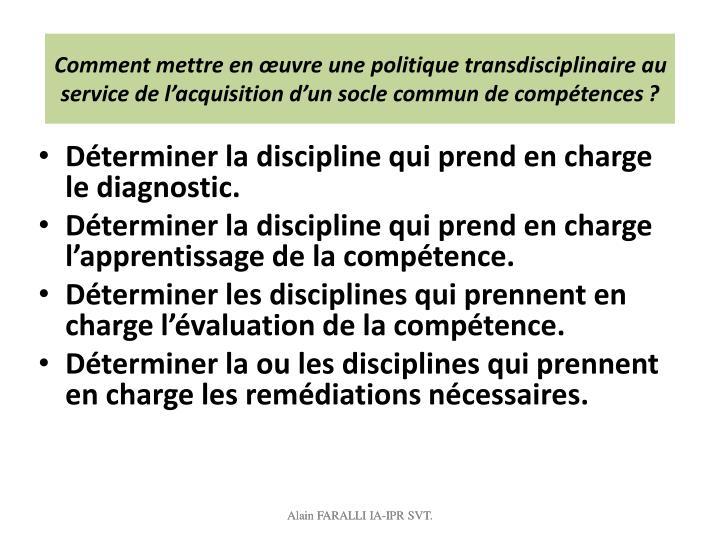 Comment mettre en œuvre une politique transdisciplinaire au service de l'acquisition d'un socle commun de compétences?