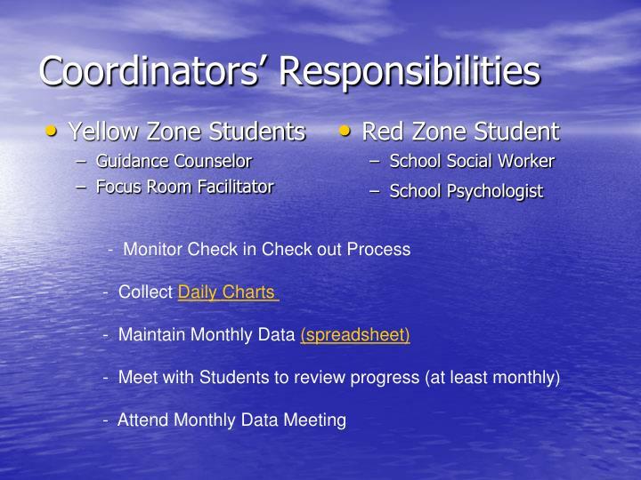 Coordinators' Responsibilities