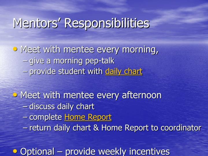 Mentors' Responsibilities