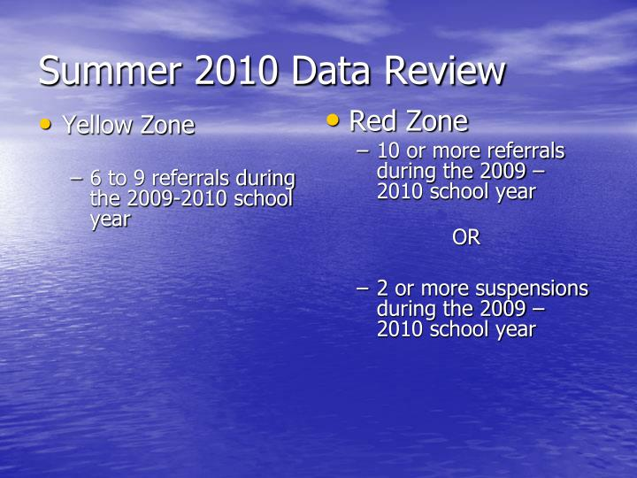 Summer 2010 Data Review