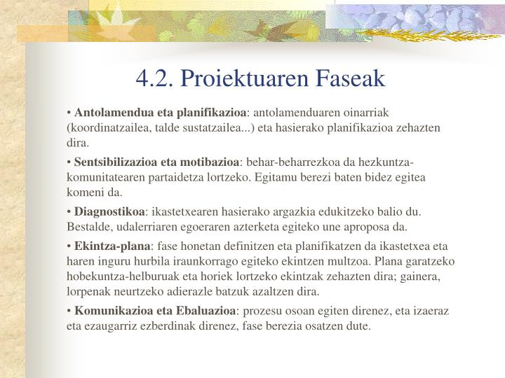 4.2. Proiektuaren Faseak