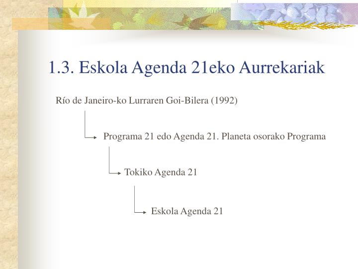 1.3. Eskola Agenda 21eko Aurrekariak